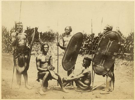 Zande men with shields, harp