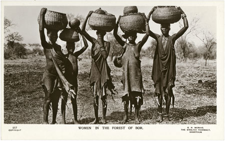 Dinka women with baskets