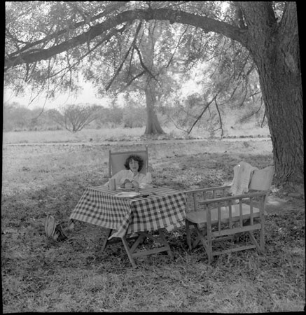 Jean Buxton at a picnic table